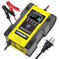 FOXSUR 12V 24V Car Battery Charger, 6A 12.6V Lithium Battery Charger & Maintainer, 7-Stage Car & Motorcycle Battery Charger with LCD Display, Lithium, Lead Acid, LiFePO4 Smart Battery Charger (Yellow)