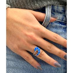 Sevil 925 Women's Rings - Blue Lab-Created Opal & Sterling Silver Wave & Rope Accent Ring