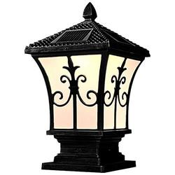 SkyTalent Solar Outdoor Post Light Fixture, Waterproof Exterior Post Lantern with Remote Control, Sand Textured Paint with Frosted Glass (9.8 x 9.8 x 21.6inch,Black)