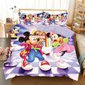 Mickey Mouse Bedding Sets King Toddler for Boys Girls Kids Minnie Bed Covers Duvet Soft Microfiber Bedding Comforter Cover 3Piece Including 1Duvet Cover,2Pillowcases P6, Lavender