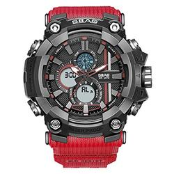 SBAO Rubber Strap Military Waterproof Watch Fashion Outdoor Quartz Digital LED Sports Watches Men's LED Digital Dual Display Watch Top Brand Luxury Clock Camping Diving Wristwatch (Red)