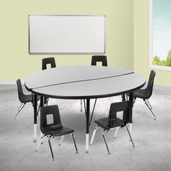 Flash Furniture 8 Piece Adjustable Height Circular Activity Table Laminate/Metal, Size 48.0 W x 48.0 D in | Wayfair XU-GRP-12CH-A48-HCIRC-GY-T-P-GG