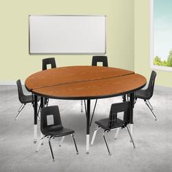 Flash Furniture 8 Piece Adjustable Height Circular Activity Table Laminate/Metal, Size 48.0 W x 48.0 D in | Wayfair
