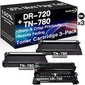Go4Color Compatible Toner Cartridges & Drum Unit Replacement for Brother DR720 DR-720 TN780 TN-780 Toners use with Brother HL-5440 HL-5450DN MFC-8710DW MFC-8910DW Printer (1x Drum + 2X Toner, 3-Pack)