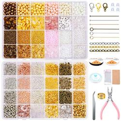 Earring Making Kit, Gacuyi Crystal Chips Pearl Seed Bugle Beads for Necklace Earring Jewelry Making Supplies and Repair with Tweezers,Back Earrings,Lobster Clasp,Earring Hooks,Jewelry Pliers
