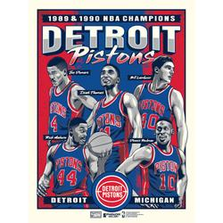 """""""Phenom Gallery Detroit Pistons Back-to-Back NBA Finals Champions Limited Edition 18'' x 24'' Bad Boys Serigraph Poster Art Print"""""""