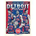 Detroit Pistons Phenom Gallery Back-to-Back NBA Finals Champions Limited Edition 18'' x 24'' Bad Boys Serigraph Poster Art Print