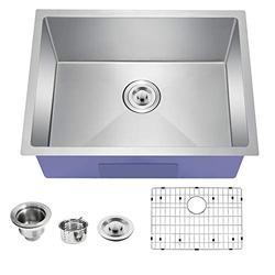 TopCraft Kitchen Sink Undermount Kitchen Sink Stainless Steel Sink Single Bowl Kitchen Sinks Bar Sink with Strainer & Bottom Grid,23 Inch