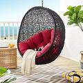 Modway EEI-3636-BLK-RED Encase Swing Outdoor Patio Lounge Chair Without Stand, Black Red