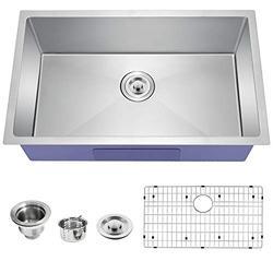 TopCraft Kitchen Sink Undermount Kitchen Sink Stainless Steel Sink Single Bowl Kitchen Sinks Bar Sink with Strainer & Bottom Grid,32 Inch