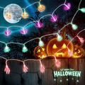 Delxo Halloween Decoration Lights, 80 LED Halloween String Lights for Halloween Decorations, Outdoor Patio, Garden, Indoor Decor,Battery Powered,Pumpkin/3D Ghost/3D Claw/3D Bat Ghost Decorate Lights