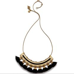 Madewell Jewelry | Madewell Tassel Giza Necklace In Black | Color: Black/Gold | Size: Os