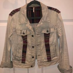 Free People Jackets & Coats | Free People Pattern Denim Jacket | Color: Blue/Red | Size: 4