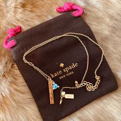 Kate Spade Jewelry | Kate Spade Baby Blue Diamond Necklace | Color: Blue/Gold | Size: Os
