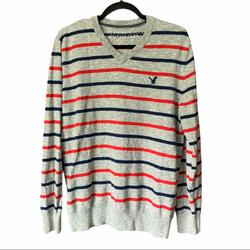 American Eagle Outfitters Sweaters | American Eagle V-Neck Striped Grey Sweater | Color: Blue/Gray/Red | Size: L