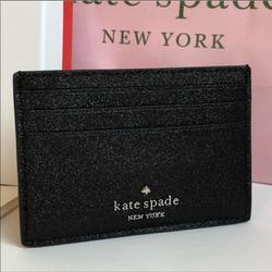 Kate Spade Accessories | Kate Spade Joeley Glitter Slim Cardholder Gift Box | Color: Black | Size: Os