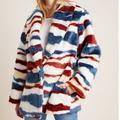 Anthropologie Jackets & Coats | Faux Fur Coat | Color: Blue/White | Size: S