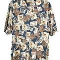 Columbia Shirts | Columbia Men'S Hawaiian Shirt Size Large Tiki | Color: Blue/Cream | Size: L