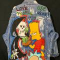 Levi's Jackets & Coats | Custom Hand Painted Vintage Long Denim Jacket | Color: Blue | Size: M