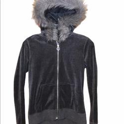 Michael Kors Jackets & Coats | Michael Kors Hooded Faux Fur Trim Jacket Small Euc | Color: Gray | Size: S