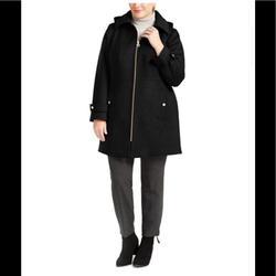 Michael Kors Jackets & Coats | Michael Kors Hooded Stand-Collar Wool Coat,Nwt | Color: Black | Size: Various