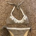 Victoria's Secret Swim | 2 Piece Bathing Suit: Top(S) Bottoms(M) | Color: Tan/White | Size: S