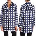 Kate Spade Jackets & Coats | Nwt Kate Spade Grid Hooded Rain Coat | Color: Blue/White | Size: M