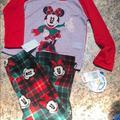 Disney Pajamas   Disney Girls Minnie Mouse 2 Piece Pajama Set 6   Color: Green/Red   Size: 6g