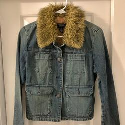 American Eagle Outfitters Jackets & Coats | Fur Collar Denim Jacket | Color: Blue | Size: M