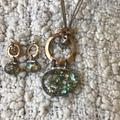 Free People Jewelry | Gold And Gemstone Necklace And Earrings Bundle | Color: Gold/Green | Size: Os