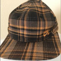 Nike Accessories | Nike Hat Cap Adjustable Hat Plaid Black Gold Hat | Color: Black/Gold | Size: Adjustable