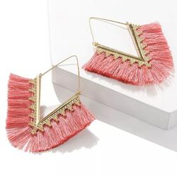 Anthropologie Jewelry | 2$35 Anthro Pink Fringe Gold V-Hoop Earrings | Color: Gold/Pink | Size: Os
