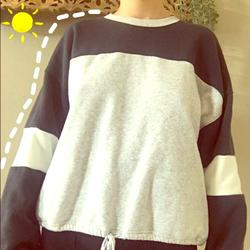 American Eagle Outfitters Tops | American Eagle Gray And Navy Blue Sporty Sweater | Color: Blue/Gray | Size: S