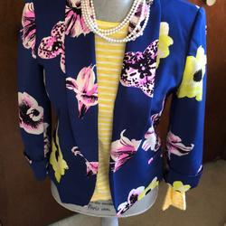 J. Crew Jackets & Coats   Jcrew Floral Jacket   Color: Blue   Size: 4