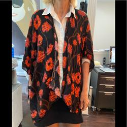 Free People Accessories | Free People Printed Boho Shawl Top Nwt | Color: Black/Orange | Size: Os