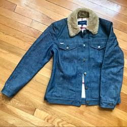 Burberry Jackets & Coats   Burberry Denim Jacket With Shearling Collar   Color: Blue/Tan   Size: 6
