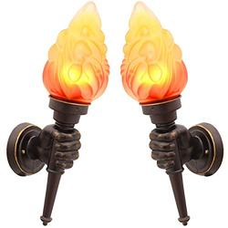 SkyTalent Vintage Torch Wall Mount Fixture, 1 Pair Stylish Wall Sconces Wall Lighting Country Retro Style Glass Shade Sconce Lighting - Valuable Assistant (Brown)