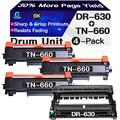 Go4max Compatible Toner Cartridge & Drum Unit Replacement for Brother DR630 DR-630 TN660 TN-660 Drum use for Brother HL-L2300D MFC-L2680W MFC-L2740DW DCP-L2520DW Printer (1x Drum + 3X Toner, 4-Pack)