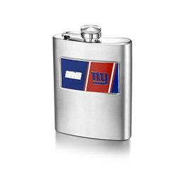 NFL New York Giants 8-ounce Matte Finished Stainless Steel Hip Flask with Rectangular Team Emblem and Funnel