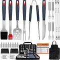 EUHOME Grilling Accessories BBQ Grill Tools Set Heavy Duty Utensils 31 PCS Set, Thick Stainless Steel Utensils for Smoker, Camping, Kitchen, Barbecue with Nylon Carry Bag Great Gift Christmas for Men