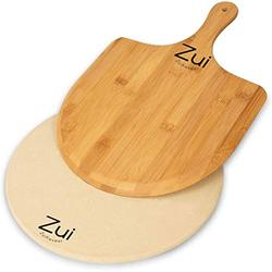 Zuikovesr Pizza Stone for Oven and Grill, Free Wooden Pizza Peel Paddle,Durable and Safe Pizza Stone for Grill,Thermal Shock Resistant Cordierite Cooking Stone,Baking Stone (10 inch) (10 inch round)