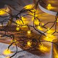 Solar String Lights Outdoor,2-Pick 50 LED 31FT Solar Powered String Lights,IP65 Waterproof Outdoor String Lights for 8 Models,Solar Globe Outdoor String Lights,LED Hanging String Lights(Warm White)