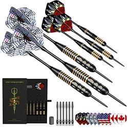 Honwally Darts Metal Tip Set Professional Steel Tip Darts Set with 22g Brass Barrels, 2 Styles Metal Darts in Case
