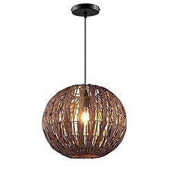 SkyTalent Rustic Natural Woven Bamboo Pendant Light, 11.8in One-Light Adjustable Metal Wicker Rattan Pendant Lighting Fixture for Kitchen Island Cafe Bar Farmhouse Lighting (Coffee)