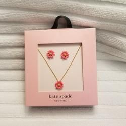 Kate Spade Jewelry | Kate Spade Into The Bloom Necklace & Earring Set | Color: Gold/Pink | Size: Necklace 17+ 3 Extenderearrings Are Studs