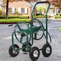 Tffnew 300FT Heavy Duty Garden Water Hose Reel Cart w/4 Wheels & Storage Basket Yard Water Planting Water Hose Storage Reel Cart for Outdoor Metal Hose Reel System Garden Yard Water Plant