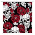 Floral Skull Shower Curtain Sugar Skull Skeleton Horror Art Home Decor Red Flower Simple Red Black Bathroom Curtains Decor Polyester Fabric Quick Drying 70X78 Inches Include Hooks