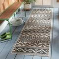 Union Rustic Northpoint Geometric Gray Indoor/Outdoor Area Rug in Brown/Gray, Size 96.0 H x 27.0 W x 0.15 D in | Wayfair