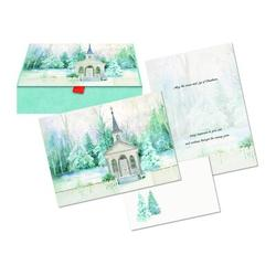 The Holiday Aisle® 15 Piece Church in Winter Glitter Keepsake Card Set in Green/White, Size 7.0 H x 5.0 W x 1.25 D in | Wayfair