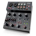 Professional Wireless DJ Audio Mixer - 4 Channel Bluetooth Controller Sound Mixer, USB Audio Interface, 2 Combo Jack XLR+6.35mm Mic/Line/Guitar in, 3.5mm, RCA AUX, Headphone Jack - Pyle PAD43MXUBT